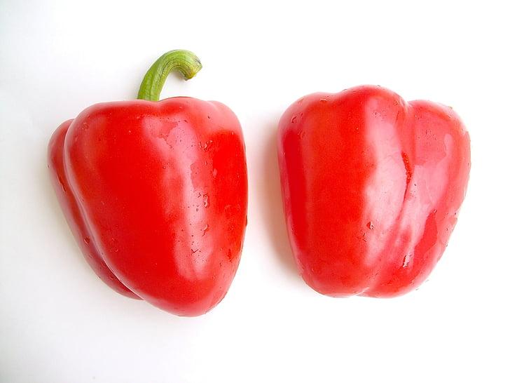 köögiviljad, materjali, punane, paprika, ristlõike, toidu