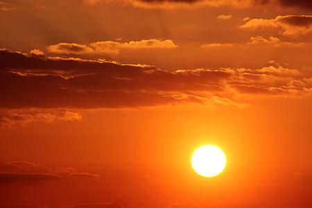 pôr do sol, sol, nuvens, nuvens escuras, abendstimmung, pôr do sol, céu da noite