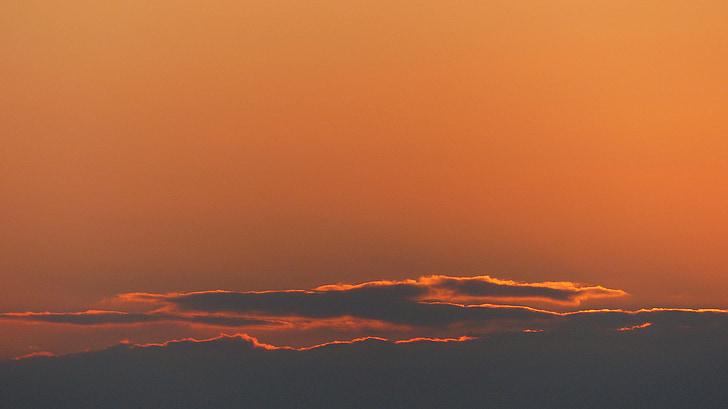 cielo, naranja, puesta de sol, cielo de la tarde, al atardecer, nubes, abendstimmung