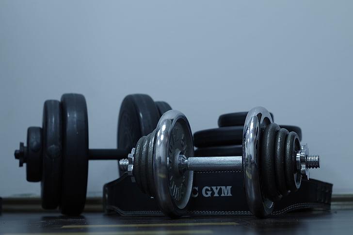 Sports, uzdevums, trenažieru zāle, hantele, veselības, novājēšanu, muskuļi