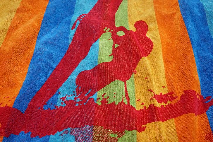 törülköző, fürdőlepedő, színes, szín, szörfös