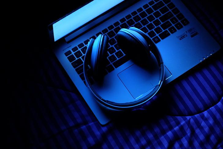 laptop, notebook, Technológia, Hudba, slúchadlá, modrá, počítač