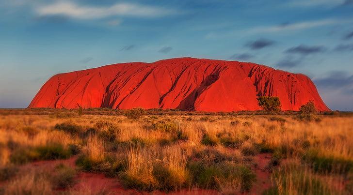 Uluru, Austrália, monolito, vermelho, natureza, ao ar livre, paisagem