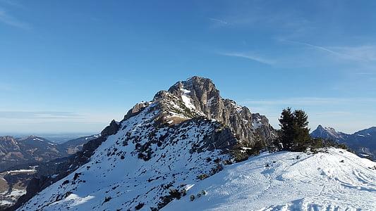rohnenspitze, Allgäu, zimowe, Tannheim, szczyt, góry, alpejska