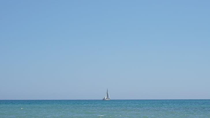 veler, Mar, Mediterrània, horitzó, vela, vaixell, cel