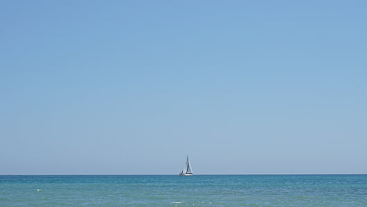 sailboat, sea, mediterranean, horizon, sailing, boat, sky