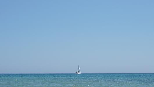velero, mar, Mediterráneo, Horizon, vela, barco, cielo