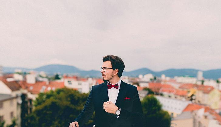 suit, tuxedo, bowtie, pocket square, watch, man, guy