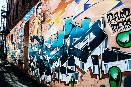 Art, graffiti, járda, közúti, utca, Street art, rongálás