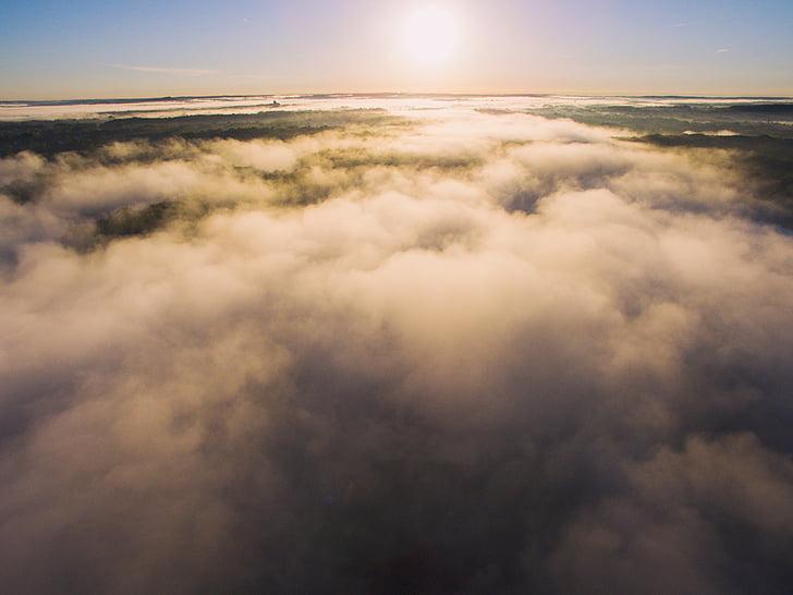 clouds, sky, aerial, sun, summer, aerial sun, fog