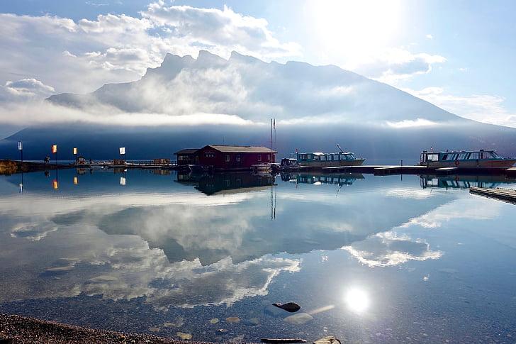 idíl·lic, escèniques, reflexió, embarcacions, tranquil·la, amarratge, calma