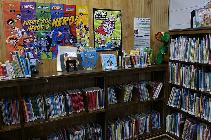 library, books, children's library, bookshelf, bookcase, educational
