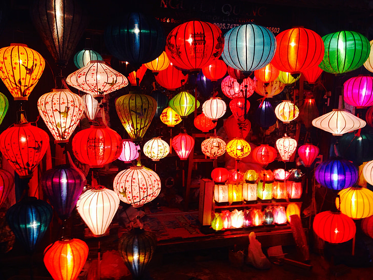 lights, lanterns, balloons, lamp, decoration, night, colorful