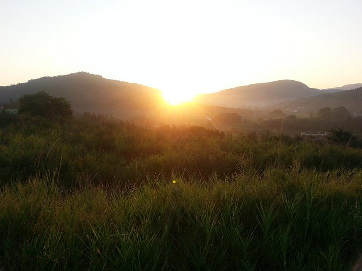 salida del sol, montaña, morgenrot
