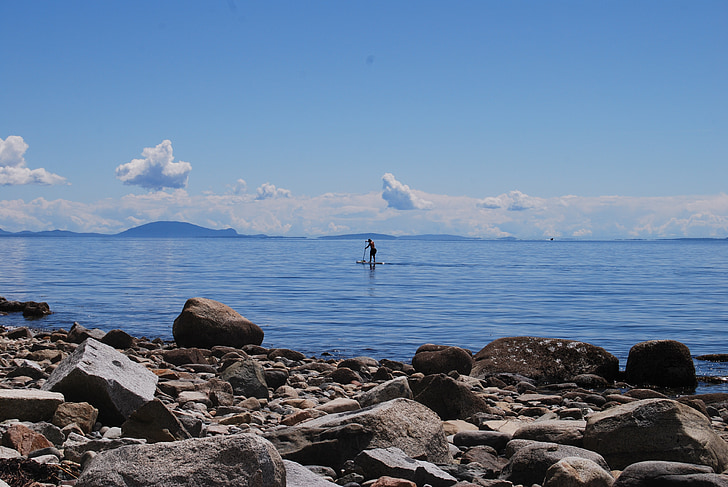 pludmale, okeāns, uzdevums, Paddleboard, āra, daba, airēt