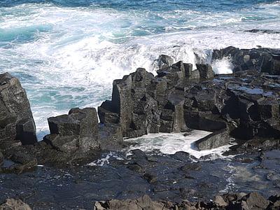 navegar per, ona, Roca de lava, submergit, frontera, defensa, ferm