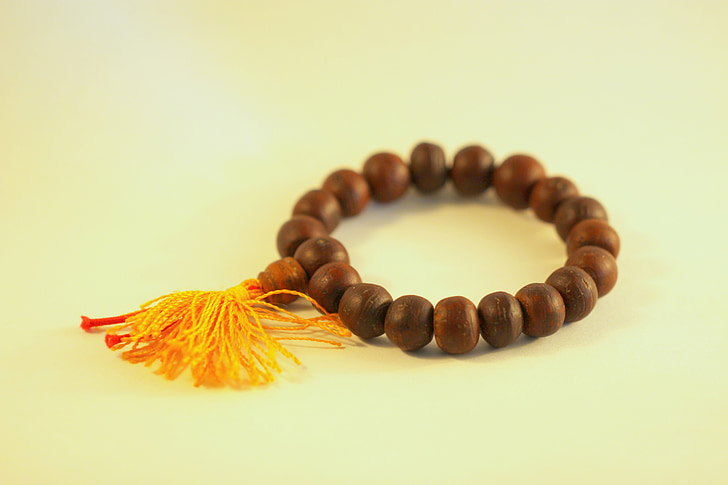 Tibet, kralen, gebed, hout, armband, sandelhout, religieuze