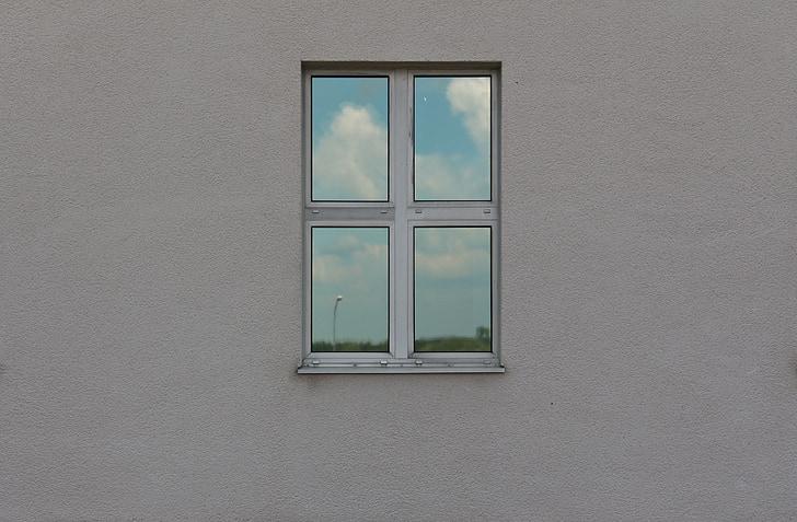 langas, atvaizdavimas, dangus, atspindys, refleksija į langą