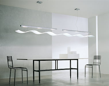 table, chairs, light, indoors, modern, domestic Room, furniture
