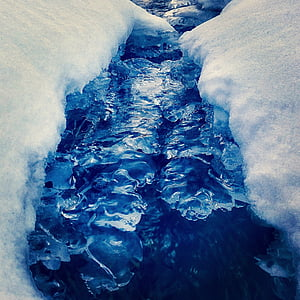 landscape, brook running, frozen, winter, ice, wintry, snow