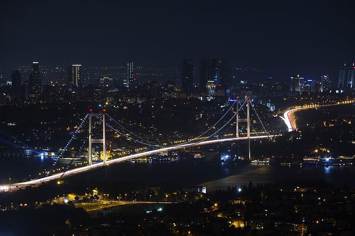 Bridge, City, City-väljakutse, linnaruumi, Istanbul, öö, Türgi