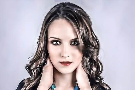 unknown, woman, female, portrait, model