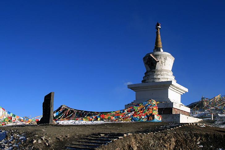 Sichuan, Wassily kandinsky, pli montagne, plier plus yamaguchi, plateau, ciel bleu, drapeaux de prières