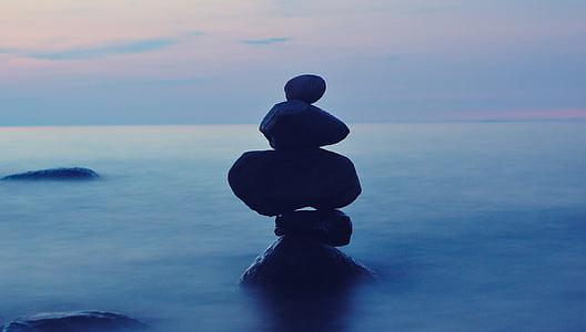 balans, stenar, Ladoga, kvällen, sommar, Ryssland, sjön