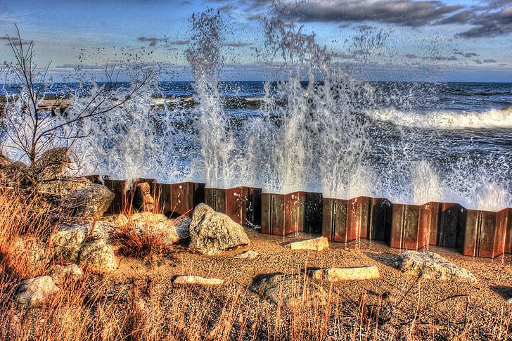 vesi, Lake, pilvet, rikkominen, Ulkouima, Ocean, Splash