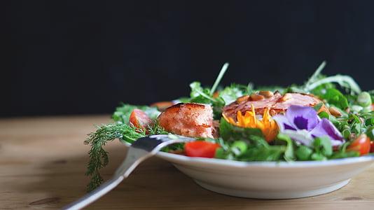 grilled, meat, green, leafy, vegetable, food, fork