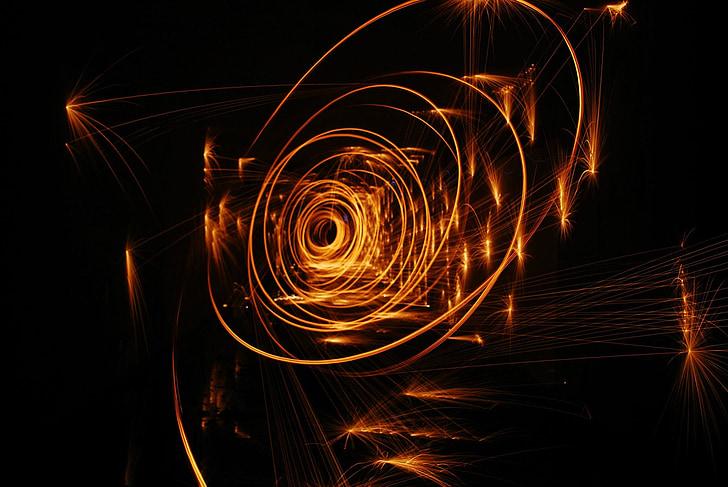 foc, espurnes, cercles, cremar, or, gotes