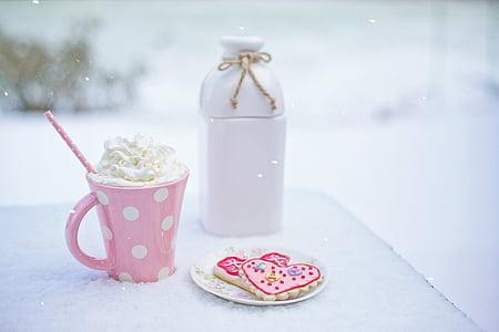 발렌타인의 날, 핫 초콜릿, 심장 쿠키, 우유 주전자, 사랑, 심장, 음료