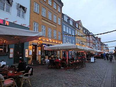 Koppenhága, Dánia, Port, Nyhavn, éttermek, sétány