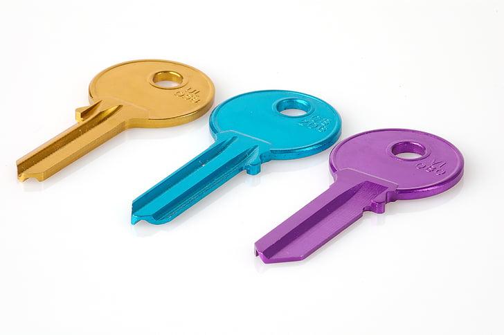 atslēga, krāsains, atbilst, numurs, drošības, neapstrādāta