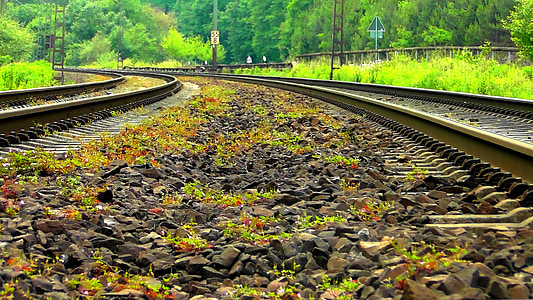 gleise, railway rails, track, seemed, parallel, track bed, train