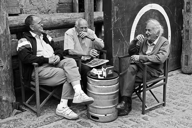 people, happy, laughter, smiles, smile, elderly, men