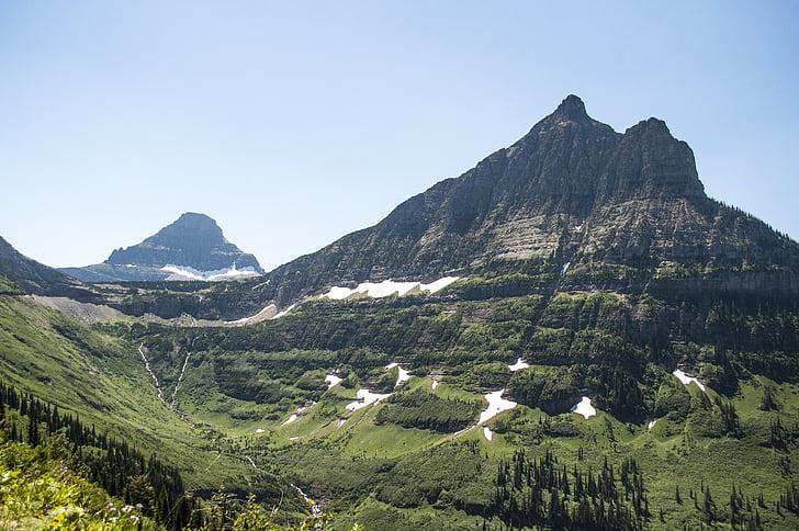 muntanya, Glacera del parc nacional, Amèrica, glacera, Nacional, Parc, Montana