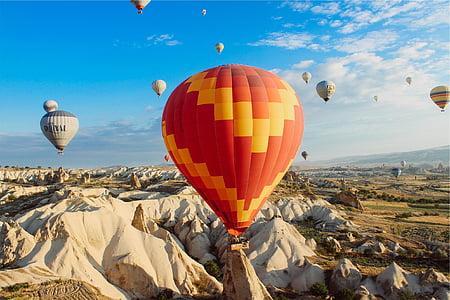 multicolor, calenta, aire, globus, fotografia, globus aerostàtics, roques