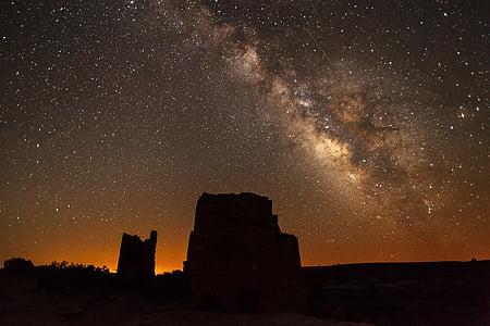 milky way, rocks, night, landscape, square tower, utah, sky