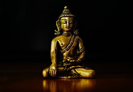 Bouddha, Figure, bronze, Bouddha doré, méditation, l'Asie, bouddhisme