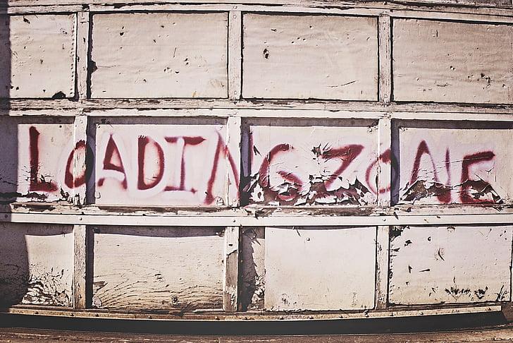 városi, garázs, épület, modern, külső, spray festék, graffiti