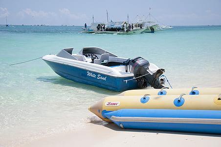 Boracay, baltas smėlis, paplūdimys, Kosta, amatų, jūra, Arenas