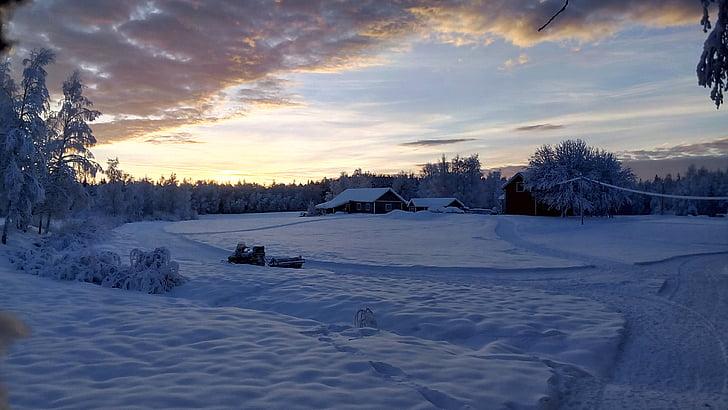 winter mood, snow landscape, winter magic, sunset, lapland