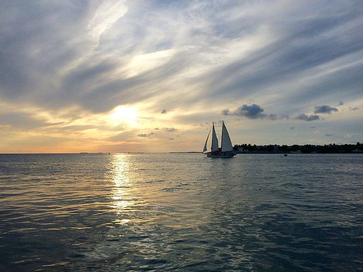 Кі-Уест, під час заходу сонця святкування, Флорида, США, води, море, небо