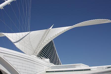 arhitektuur, kaasaegne, Milwaukee, Kunstimuuseum, katuse, kunsti, Art