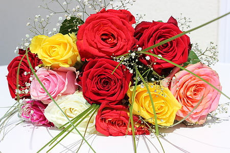 roses, flowers, bouquet, bouquet of roses, bouquet of flowers, love, birthday bouquet