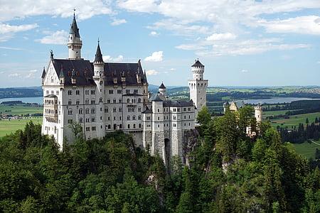 Castle, Kristin, Neuschwanstein kastély, 1900-ban, tündér vár, Allgäu, hegyek