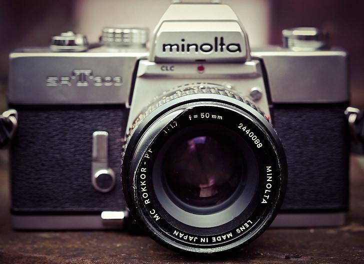 photo camera, camera, minolta, photograph, old, nostalgia, vintage