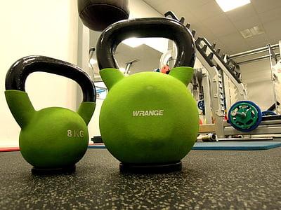 závažia, Kettlebell, v telocvični, fitness, športové, hmotnosť, školenia