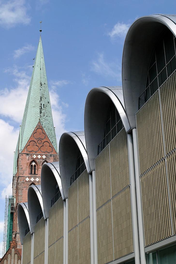 arhitektūra, Lübeck, ingenhoven, ēka, gājēju zona, rotājumi, interesantas vietas
